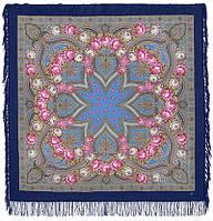 Купчиха 1572-14, павлопосадский платок шерстяной с шерстяной бахромой