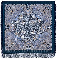 Морозко 23-14, павлопосадский платок шерстяной с шерстяной бахромой