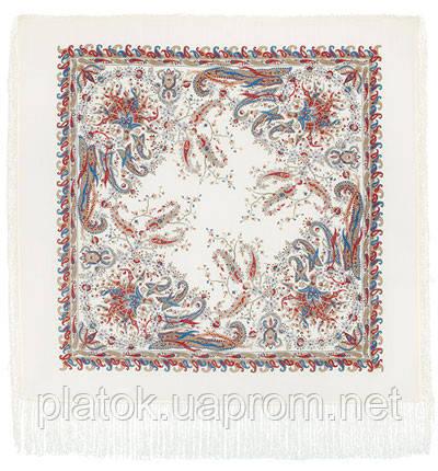 Балаганчик 203-4, павлопосадский платок шерстяной  с шелковой бахромой