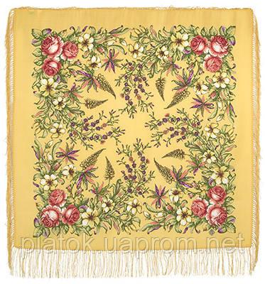 Весеннее путешествие 1604-2, павлопосадский платок шерстяной  с шелковой бахромой