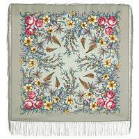 Весеннее путешествие 1604-10, павлопосадский платок шерстяной  с шелковой бахромой