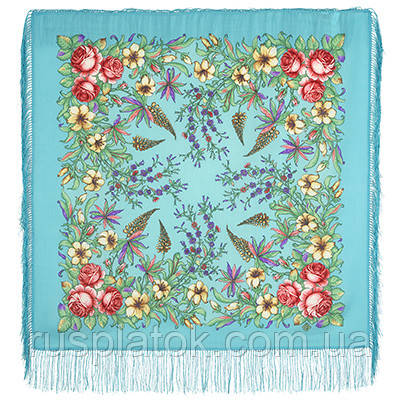 Весеннее путешествие 1604-11, павлопосадский платок шерстяной  с шелковой бахромой