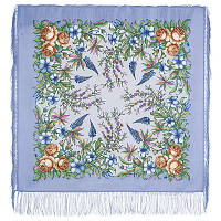 Весеннее путешествие 1604-15, павлопосадский платок шерстяной  с шелковой бахромой