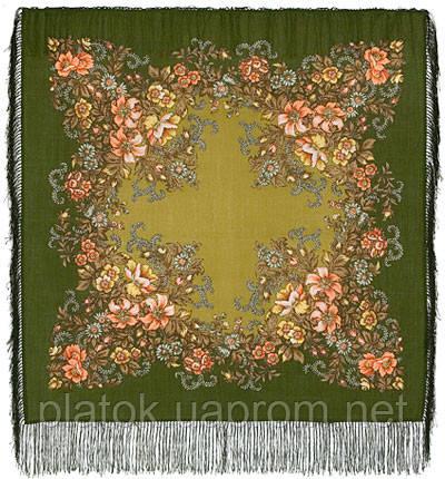 Вечерний сад 1488-10, павлопосадский платок шерстяной  с шелковой бахромой