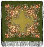 Вечерний сад 1488-10, павлопосадский платок шерстяной  с шелковой бахромой, фото 1