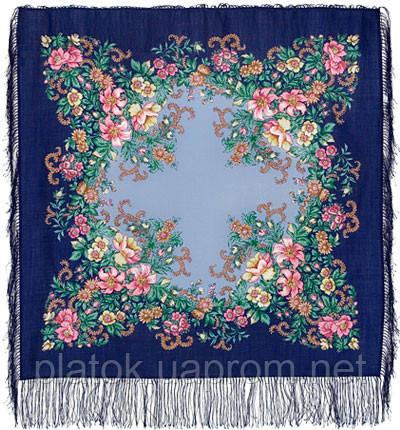 Вечерний сад 1488-13, павлопосадский платок шерстяной  с шелковой бахромой   Первый сорт
