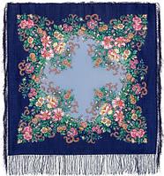 Вечерний сад 1488-13, павлопосадский платок шерстяной  с шелковой бахромой   Первый сорт    СКИДКА!!!