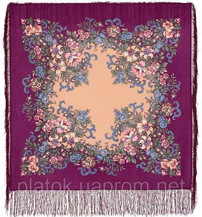 Вечерний сад 1488-15, павлопосадский платок шерстяной  с шелковой бахромой
