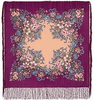Вечерний сад 1488-15, павлопосадский платок шерстяной  с шелковой бахромой, фото 1
