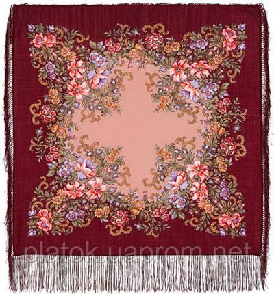 Вечерний сад 1488-7, павлопосадский платок шерстяной  с шелковой бахромой