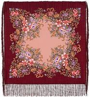 Вечерний сад 1488-7, павлопосадский платок шерстяной  с шелковой бахромой, фото 1