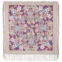 Воздушное настроение 1661-2, павлопосадский платок шерстяной  с шелковой бахромой