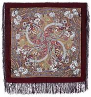 Жемчужный берег 853-57, павлопосадский платок шерстяной  с шелковой бахромой, фото 1