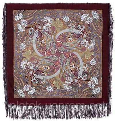 Жемчужный берег 853-57, павлопосадский платок шерстяной  с шелковой бахромой