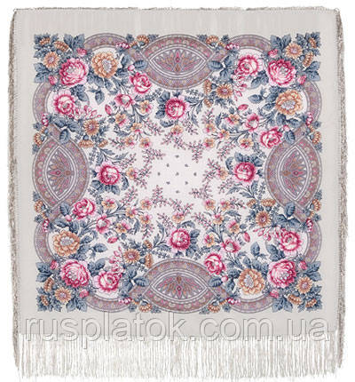 Кумушка 1453-1, павлопосадский вовняну хустку з шовковою бахромою
