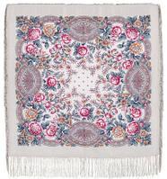 Кумушка 1453-1, павлопосадский платок шерстяной  с шелковой бахромой, фото 1