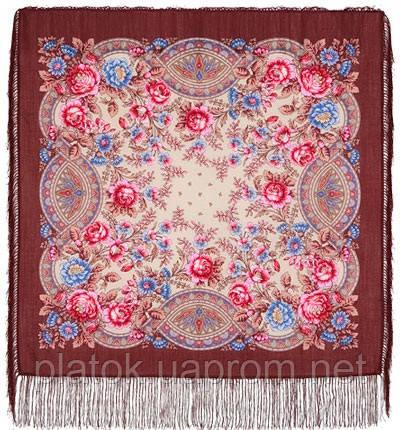 Кумушка 1453-16, павлопосадский платок шерстяной  с шелковой бахромой