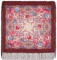 Кумушка 1453-16, павлопосадский платок шерстяной  с шелковой бахромой, фото 1