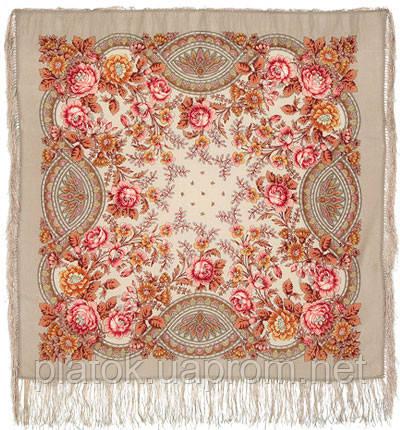 Кумушка 1453-2, павлопосадский платок шерстяной  с шелковой бахромой