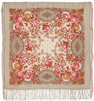 Кумушка 1453-2, павлопосадский платок шерстяной  с шелковой бахромой, фото 1