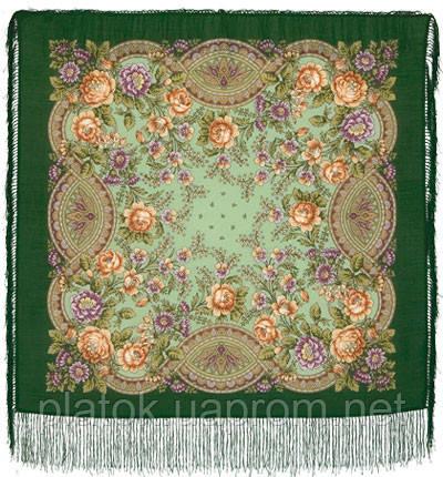 Кумушка 1453-9, павлопосадский платок шерстяной  с шелковой бахромой