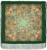 Кумушка 1453-9, павлопосадский платок шерстяной  с шелковой бахромой, фото 1