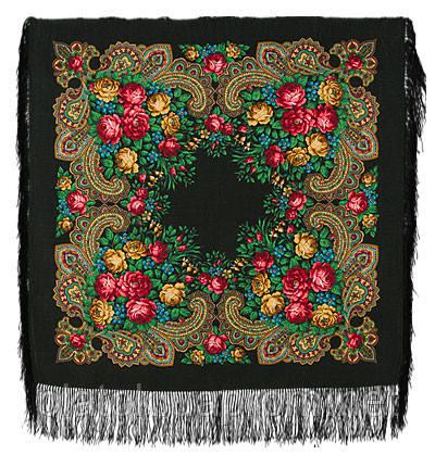 Незнакомка 779-18, павлопосадский платок шерстяной  с шелковой бахромой
