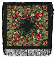 Незнакомка 779-18, павлопосадский платок шерстяной  с шелковой бахромой, фото 1