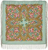 Вечерок 685-12, павлопосадский платок шерстяной с шерстяной бахромой