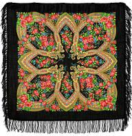 Вечерок 685-18, павлопосадский платок шерстяной с шерстяной бахромой