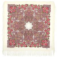 Камаринская 1559-0, павлопосадский платок шерстяной с шерстяной бахромой   Первый сорт    СКИДКА!!!