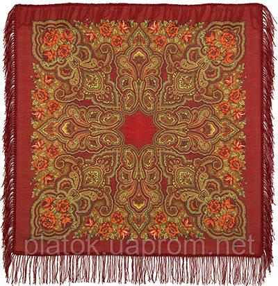 Камаринская 1559-5, павлопосадский платок шерстяной с шерстяной бахромой