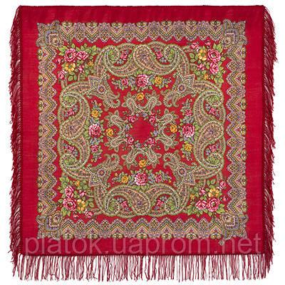 Озерный край 1622-5, павлопосадский платок шерстяной с шерстяной бахромой