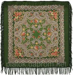 Озерный край 1622-10, павлопосадский платок шерстяной с шерстяной бахромой