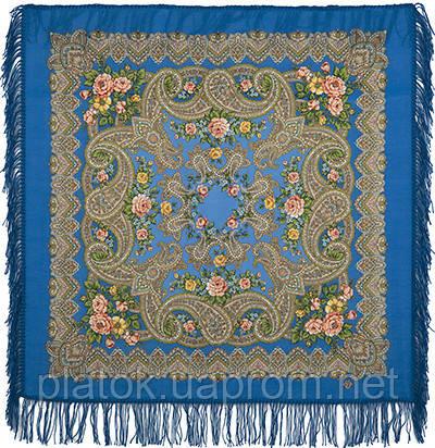 Озерный край 1622-13, павлопосадский платок шерстяной с шерстяной бахромой