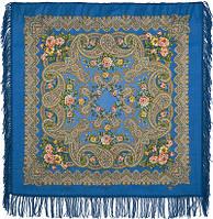 Озерный край 1622-13, павлопосадский платок шерстяной с шерстяной бахромой, фото 1