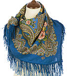 Озерный край 1622-13, павлопосадский платок шерстяной с шерстяной бахромой, фото 3