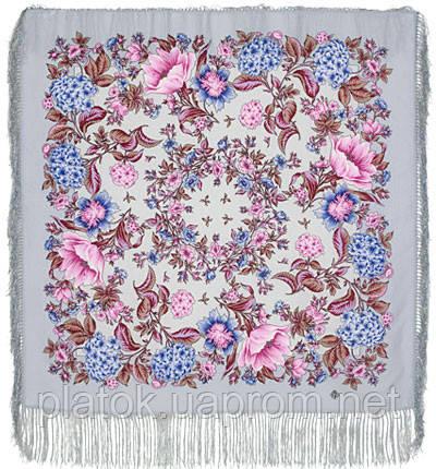 Цветомания 1439-1, павлопосадский платок шерстяной  с шелковой бахромой