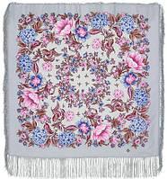 Цветомания 1439-1, павлопосадский платок шерстяной  с шелковой бахромой, фото 1