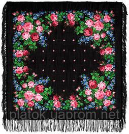 Варенька 1317-18, павлопосадский платок шерстяной с шерстяной бахромой