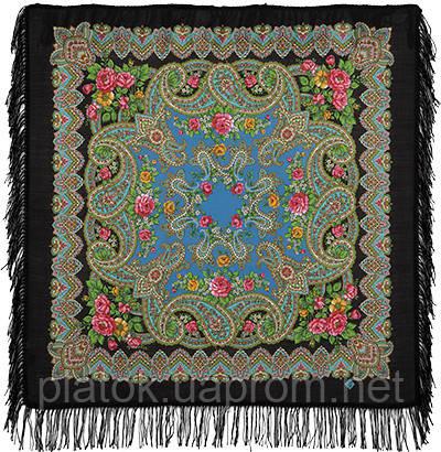 Озерный край 1622-18, павлопосадский платок шерстяной с шерстяной бахромой