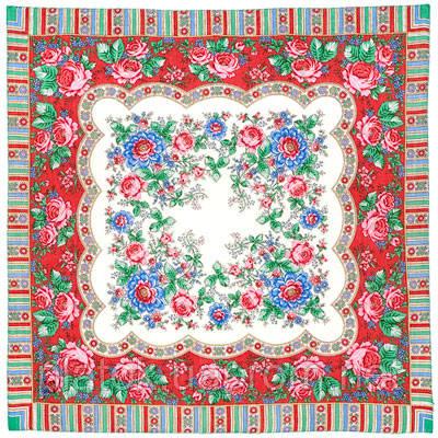 Аленушка 1347-1, павлопосадский платок шерстяной  с оверлоком