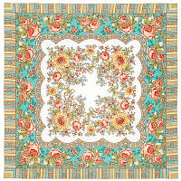 Аленушка 1347-3, павлопосадский платок шерстяной  с оверлоком, фото 1