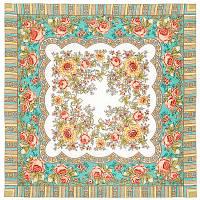 Аленушка 1347-3, павлопосадский платок шерстяной  с оверлоком