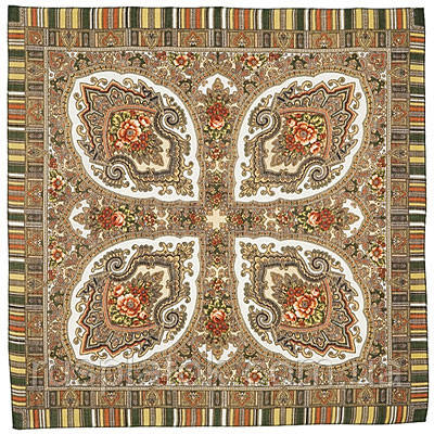 Аленький цветочек 797-2, павлопосадский платок шерстяной  с оверлоком