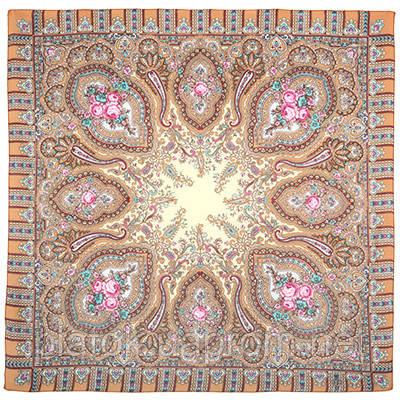 Берега желаний 1623-1, павлопосадский платок шерстяной  с оверлоком