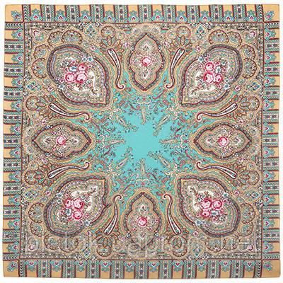 Берега желаний 1623-4, павлопосадский платок шерстяной  с оверлоком