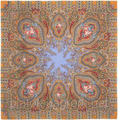 Берега желаний 1623-2, павлопосадский платок шерстяной  с оверлоком