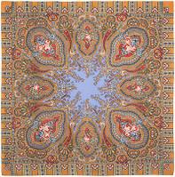 Берега желаний 1623-2, павлопосадский платок шерстяной  с оверлоком, фото 1