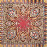 Берега желаний 1623-3, павлопосадский платок шерстяной  с оверлоком